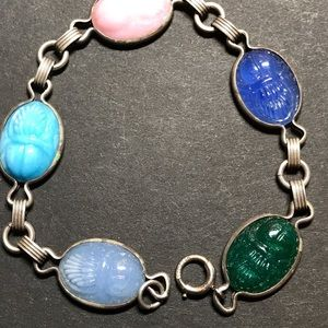 Scarab and sterling bracelet